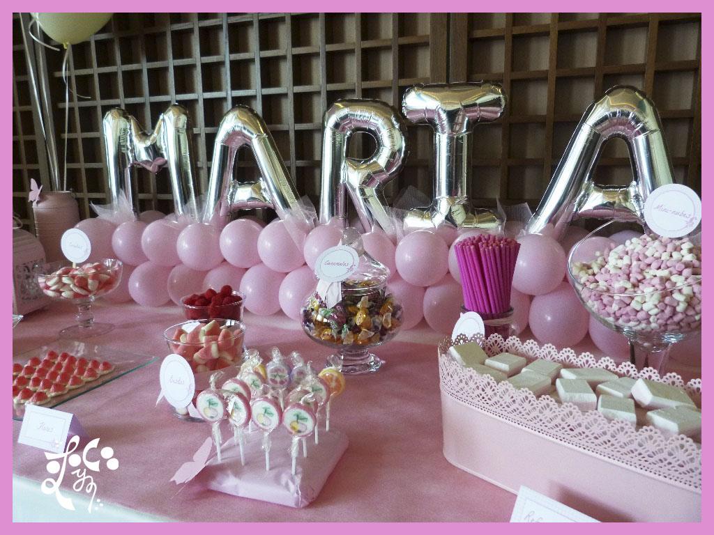 Decoracion con globos para una comuni n eleyce eventos - Adornos mesa comunion ...