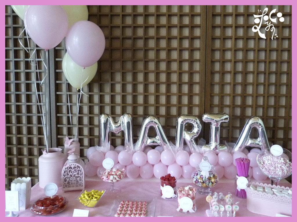 Decoracion con globos para una comuni n eleyce eventos - Bombas para decorar ...