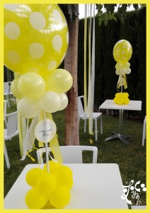 DECORACIÓN CENTROS DE GLOBOS BUBBLE AMARILLO