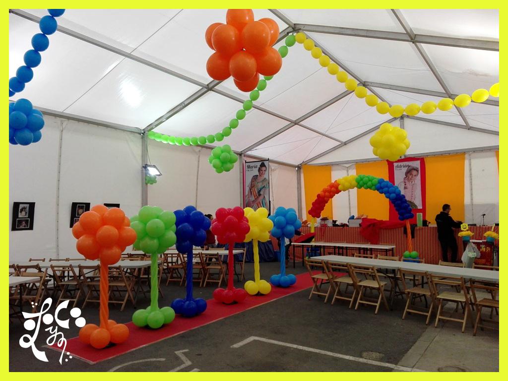 Decoracion con globos merienda presidente infantil lego for Decoracion globos valencia