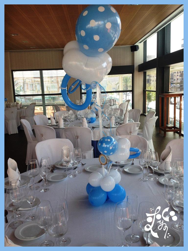 Centro de mesa con globos restaurante sporting valencia for Centros de mesa para restaurantes