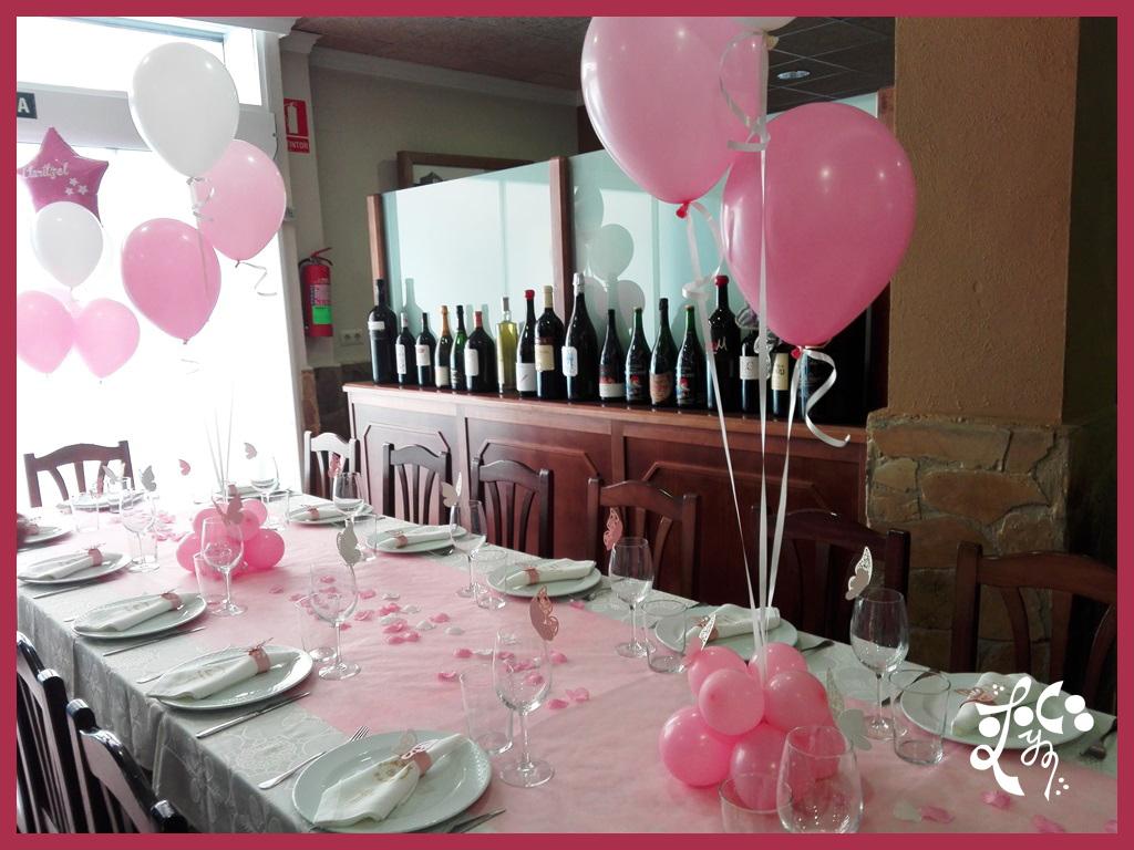 Decoracion con globos y candy bar comuni n ni a valencia for Decoracion mesa comunion nina