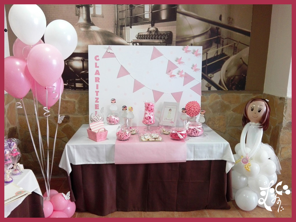 Decoracion con globos y candy bar comuni n ni a valencia for Decoracion para comunion en casa
